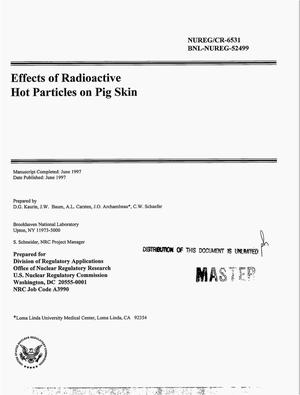 Primary view of object titled 'Effects of radioactive hot particles on pig skin'.