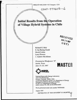 Primary view of object titled 'Initial results from the operation of village hybrid systems in Chile'.