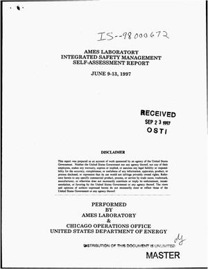 Primary view of object titled 'Ames Laboratory integrated safety management self-assessment report'.