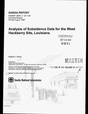 Primary view of object titled 'Analysis of subsidence data for the West Hackberry site, Louisiana'.