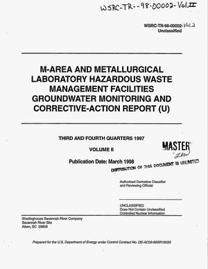 Primary view of object titled 'M-Area and Metallurgical Laboratory Hazardous Waste Management Facilities Groundwater Monitoring and Corrective-Action Report, Third and Fourth Quarters 1997. Volume 2'.