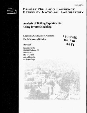 Primary view of object titled 'Analysis of boiling experiment using inverse modeling'.