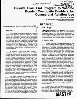 Primary view of object titled 'Results from FAA program to validate bonded composite doublers for commercial aviation use'.