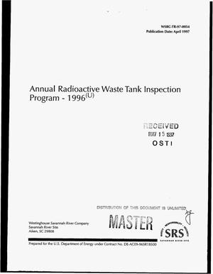Primary view of object titled 'Annual radioactive waste tank inspection program - 1996'.