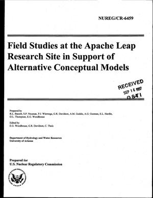 Primary view of object titled 'Field studies at the Apache Leap Research Site in support of alternative conceptual models'.