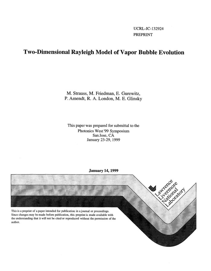 Two Dimensional Rayleigh Model Of Vapor Bubble Evolution Digital