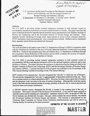 Primary view of object titled 'US assistance in physical protection at the Kharkov Institute of Physics and Technology and the Sevastopol Institute of Nuclear Energy and Industry, Ukraine'.