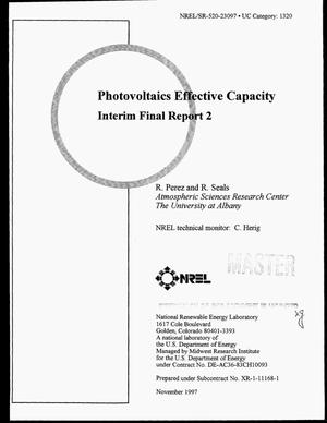 Primary view of object titled 'Photovoltaics effective capacity: Interim final report 2'.