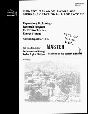 Primary view of object titled 'Exploratory technology research program for electrochemical energy storage. Annual report for 1996'.