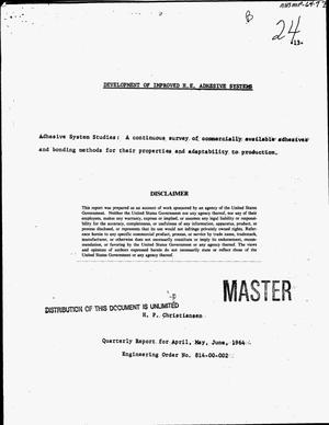 Primary view of object titled 'Development of improved H.E. adhesive systems. Quarterly report for April--June, 1964'.