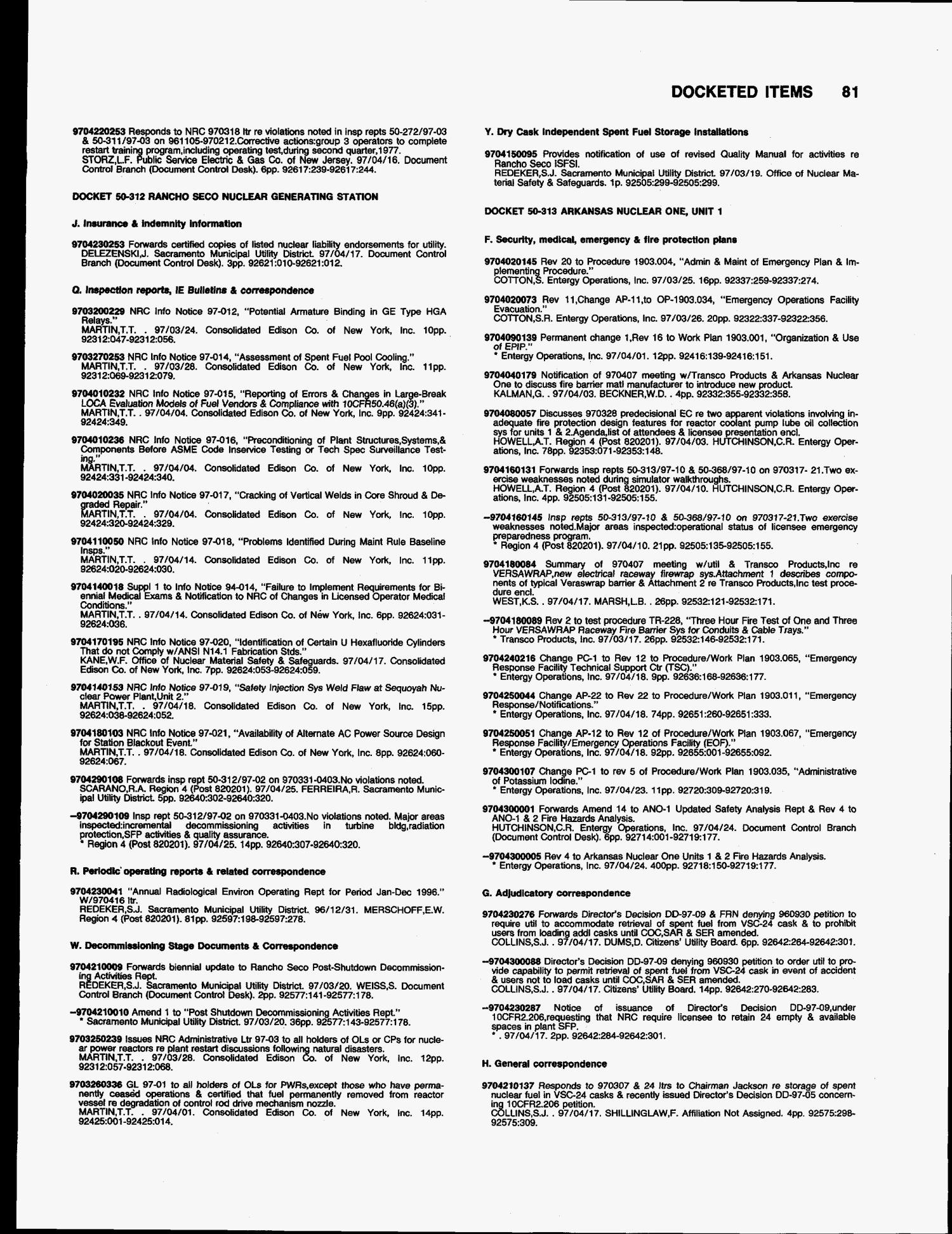 Title list of documents made publicly available, April 1--30 1997
