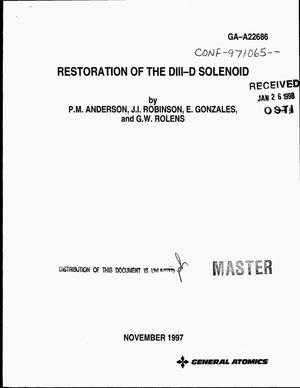Primary view of object titled 'Restoration of the DIII-D solenoid'.