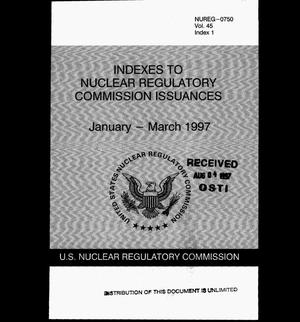 Primary view of object titled 'Indexes to Nuclear Regulatory Commission issuances, January--March 1997'.