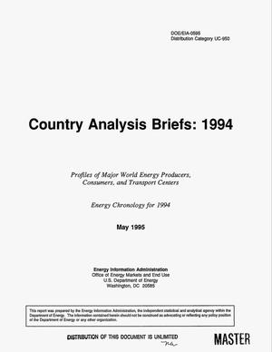Primary view of object titled 'Country analysis briefs: 1994. Profiles of major world energy producers, consumers, and transport centers'.