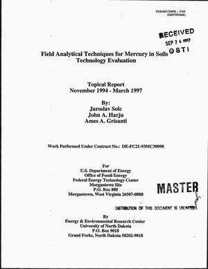 Primary view of object titled 'Field analytical techniques for mercury in soils technology evaluation. Topical report, November 1994--March 1997'.