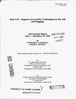 Primary view of object titled 'Task 3.15 -- Impacts of low-NOx combustion on fly ash and slagging. Semi-annual report, July 1--December 31, 1996'.