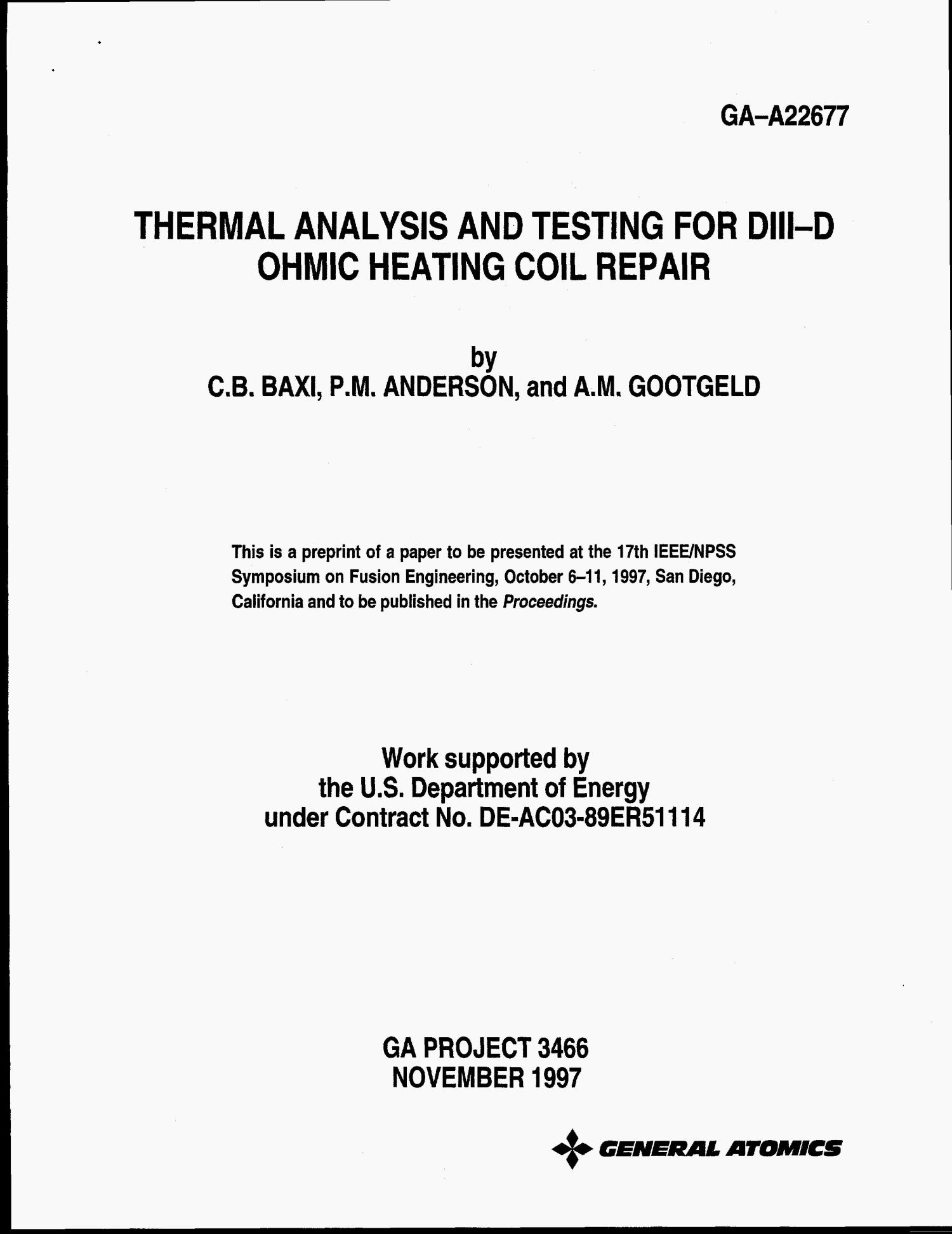 Thermal analysis and testing for DIII-D ohmic heating coil repair                                                                                                      [Sequence #]: 4 of 8