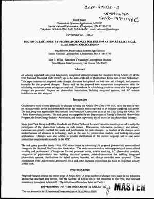 Primary view of object titled 'Photovoltaic industry proposed changes for the 1999 national electrical code for PV applications'.