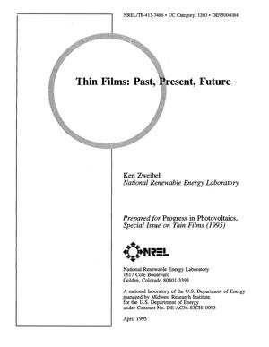 Primary view of object titled 'Thin films: Past, present, future'.