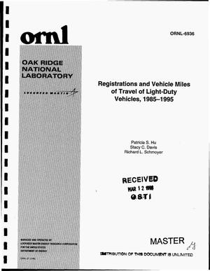 Primary view of object titled 'Registrations and vehicle miles of travel of light duty vehicles, 1985--1995'.