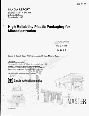Primary view of object titled 'High reliability plastic packaging for microelectronics'.