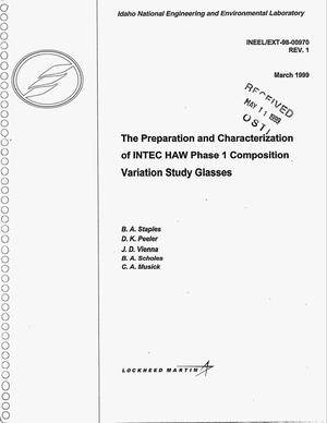 Primary view of object titled 'The Preparation and Characterization of INTEC HAW Phase I Composition Variation Study Glasses'.