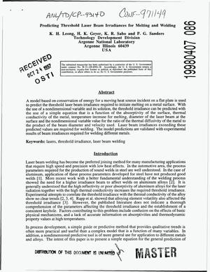 Primary view of object titled 'Predicting threshold laser beam irradiances for melting and welding'.