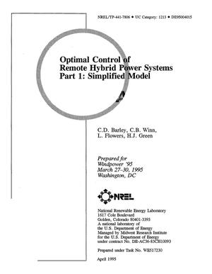 Primary view of object titled 'Optimal control of remote hybrid power systems. Part 1: Simplified model'.