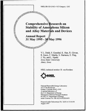 Primary view of object titled 'Comprehensive research on stability of amorphous silicon and alloy materials and devices. Annual report, May 31, 1995--May 30, 1996'.