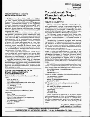 Primary view of object titled 'Yucca Mountain Site Characterization Project bibliography, 1992--1994. Supplement 4'.
