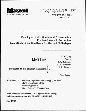 Primary view of object titled 'Development of a geothermal resource in a fractured volcanic formation: Case study of the Sumikawa Geothermal Field, Japan. Final report, May 1, 1995--November 30, 1997'.