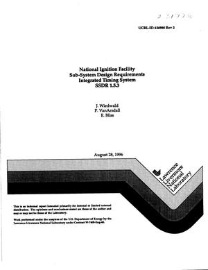Primary view of object titled 'National Ignition Facility sub-system design requirements integrated timing system SSDR 1.5.3'.