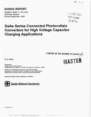 Primary view of object titled 'GaAs series connected photovoltaic converters for high voltage capacitor charging applications'.