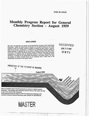 Primary view of object titled 'Monthly progress report for general chemistry section, August 1959'.