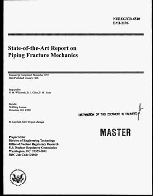 Primary view of object titled 'State-of-the-art report on piping fracture mechanics'.
