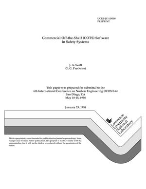 Primary view of object titled 'Commercial off the shelf (COTS) software in safety systems'.