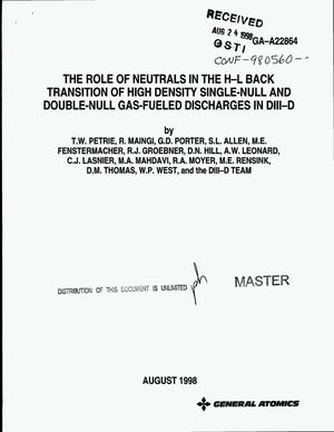 Primary view of object titled 'The role of neutrals in the H-L back transition of high density single-null and double-null gas-fueled discharges in DIII-D'.