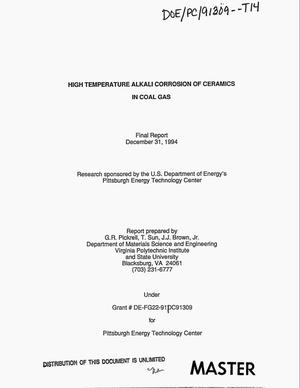 Primary view of object titled 'High temperature alkali corrosion of ceramics in coal gas: Final report'.