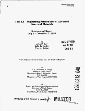 Primary view of object titled 'Task 6.3 - Engineering Performance of Advanced Structural Materials Semi-annual report, July 1- December 31, 1996.'.