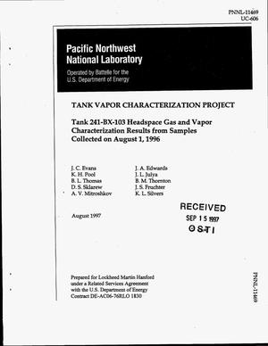 Primary view of object titled 'Tank Vapor Characterization Project: Tank 241-BX-103 headspace gas and vapor characterization results from samples collected on August 1, 1996'.