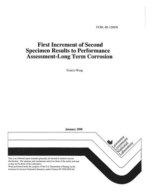 Primary view of object titled 'First increment of second specimen results to performance assessment-long term corrosion'.