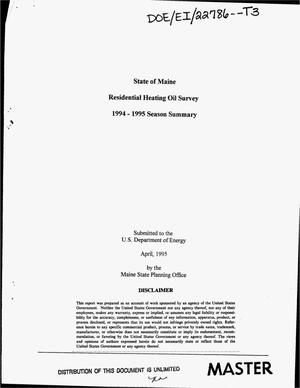 Primary view of object titled 'State of Maine residential heating oil survey: 1994--1995 Season summary'.