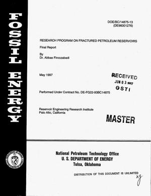 Primary view of object titled 'Research program on fractured petroleum reservoirs. Final report, January 1, 1996--December 31, 1996'.
