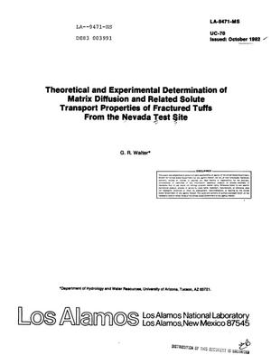 Primary view of object titled 'Theoretical and experimental determination of matrix diffusion and related solute transport properties of fractured tuffs from the Nevada Test Site'.