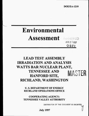 Primary view of object titled 'Lead test assembly irradiation and analysis Watts Bar Nuclear Plant, Tennessee and Hanford Site, Richland, Washington'.
