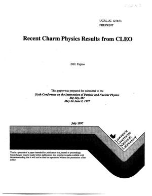Primary view of object titled 'Recent charm physics results from CLEO'.