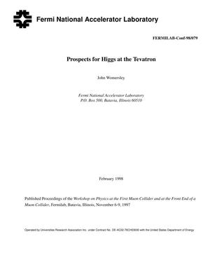 Primary view of object titled 'Prospects for higgs at the Tevatron'.
