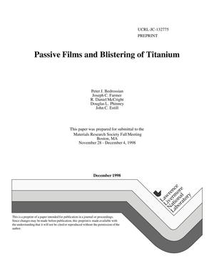 Primary view of object titled 'Passive films and blistering of titanium'.