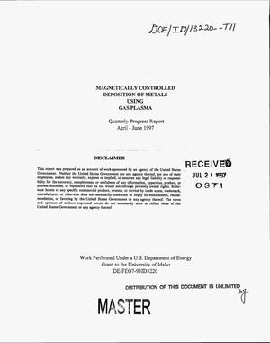 Primary view of object titled 'Magnetically controlled deposition of metals using gas plasma. Quarterly progress report, April--June 1997'.