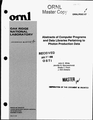 Primary view of object titled 'Abstracts of computer programs and data libraries pertaining to photon production data'.